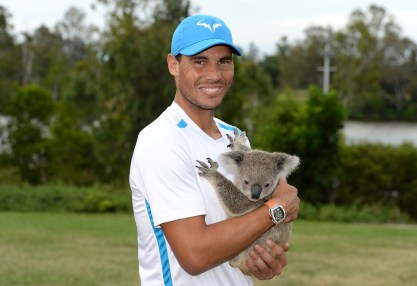 Rafael Nadal of Spain holds a Koala on day two of the 2017 Brisbane International at Pat Rafter Arena on January 2, 2017 in Brisbane, Australia. (Jan. 1, 2017 - Source: Bradley Kanaris/Getty Images AsiaPac)