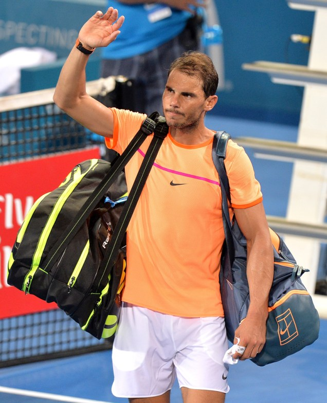 Rafael Nadal of Spain waves goodbye to fans after losing his match against Milos Raonic of Canada on day six of the 2017 Brisbane International at Pat Rafter Arena on January 6, 2017 in Brisbane, Australia. (Jan. 5, 2017 - Source: Bradley Kanaris/Getty Images AsiaPac)