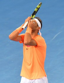 Rafael Nadal of Spain shows his frustration in his match against Milos Raonic of Canada on day six of the 2017 Brisbane International at Pat Rafter Arena on January 6, 2017 in Brisbane, Australia. (Jan. 5, 2017 - Source: Bradley Kanaris/Getty Images AsiaPac)