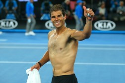 Rafael Nadal of Spain celebrates winning his semifinal match against Grigor Dimitrov of Bulgaria on day 12 of the 2017 Australian Open at Melbourne Park on January 27, 2017 in Melbourne, Australia. (Jan. 26, 2017 - Source: Scott Barbour/Getty Images AsiaPac)