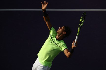 Rafael Nadal of Spain in action against Dudi Sela of Israel at Crandon Park Tennis Center on March 24, 2017 in Key Biscayne, Florida. (March 23, 2017 - Source: Julian Finney/Getty Images North America)