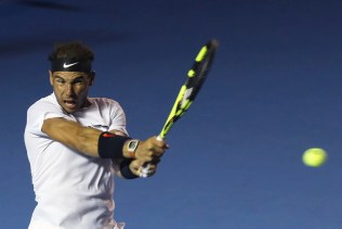 Spain's Rafael Nadal returns the ball to United States' Sam Querrey during the final of the Mexican Tennis Open in Acapulco, Mexico, Saturday March 4, 2017.(AP Photo/Enric Marti)