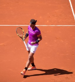 Rafael Nadal of Spain celebrates winning a point against Novak Djokovic of Serbia in their semi-final match during day eight of the Mutua Madrid Open tennis at La Caja Magica on May 13, 2017 in Madrid, Spain. (May 12, 2017 - Source: Denis Doyle/Getty Images Europe)