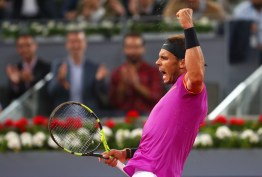 Rafael Nadal of Spain celebrates after beating David Goffin of Belguim during day six of the Mutua Madrid Open tennis at La Caja Magica on May 12, 2017 in Madrid, Spain (May 11, 2017 - Source: Clive Rose/Getty Images Europe)