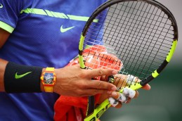 Rafael Nadal of Spain adjusts his racquet during the men's singles third round match against Nikoloz Basilashvili of Georgia on day six of the 2017 French Open at Roland Garros on June 2, 2017 in Paris, France. (June 1, 2017 - Source: Clive Brunskill/Getty Images Europe)