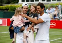 Tennis - Aspall Tennis Classic - London, Britain - June 30, 2017 Germany's Tommy Haas with his daughters and Spain's Rafael Nadal after their match Action Images via Reuters/Peter Cziborra