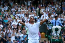 Rafael Nadal of Spain celebrates victory after his Gentlemen's Singles second round match against Donald Young of The United States on day three of the Wimbledon Lawn Tennis Championships at the All England Lawn Tennis and Croquet Club on July 5, 2017 in London, England. (July 4, 2017 - Source: Clive Brunskill/Getty Images Europe)