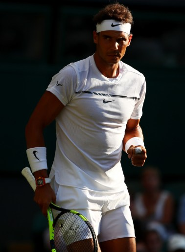 Rafael Nadal of Spain celebrates during the Gentlemen's Singles second round match Donald Young of The United States on day three of the Wimbledon Lawn Tennis Championships at the All England Lawn Tennis and Croquet Club on July 5, 2017 in London, England. (July 4, 2017 - Source: Clive Brunskill/Getty Images Europe)