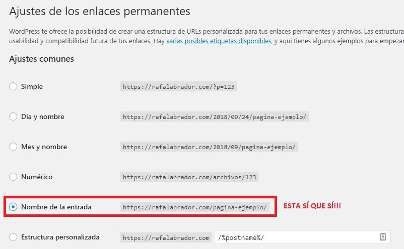 Opción OK para urls en WordPress