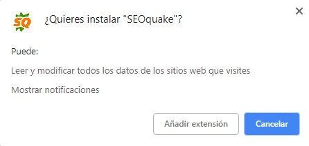 Permisos SEOquake en Chrome