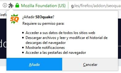 Permisos SEOquake Firefox