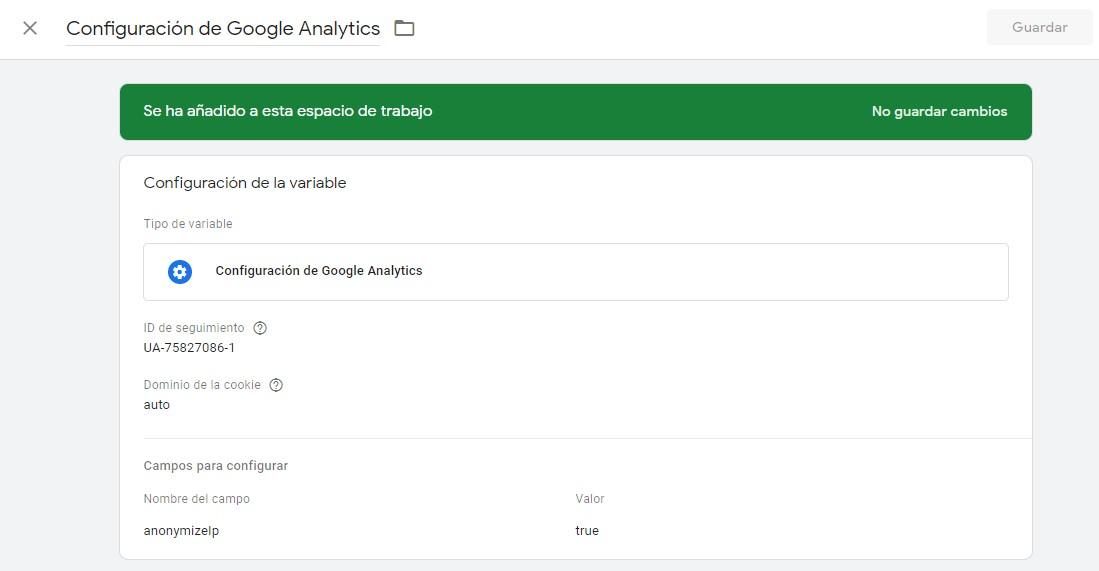 GTM Configuración Google Analytics