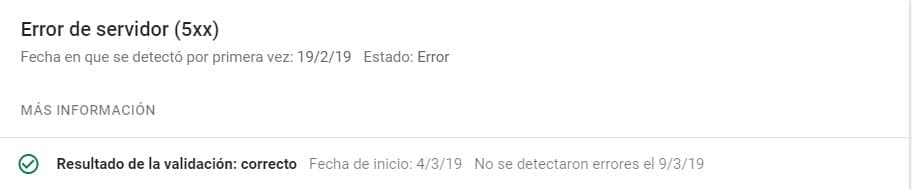Error de servidor Search Console