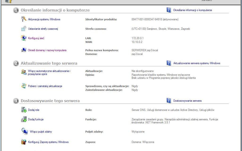 Konfiguracja początkowa Windows Server 2008 i 2008R2