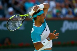 INDIAN WELLS, CA - MARCH 15: Rafael Nadal of Spain in action against Fernando Verdasco of Spain during day nine of the BNP Paribas Open at Indian Wells Tennis Garden on March 15, 2016 in Indian Wells, California. (Photo by Julian Finney/Getty Images)