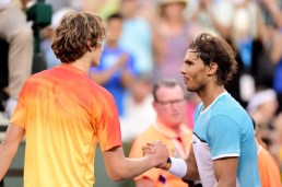 INDIAN WELLS, CA - MARCH 16: Rafael Nadal of Spain shakes hands with Alexander Zverev of Gremany after his victory at Indian Wells Tennis Garden on March 16, 2016 in Indian Wells, California. (Photo by Harry How/Getty Images)