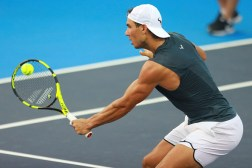 ACAPULCO, MEXICO - FEBRUARY 27: Rafael Nadal of Spain takes a backhand shot during a training session ahead of the Telcel ATP Mexican Open 2017 at Mextenis Stadium on February 27, 2017 in Acapulco, Mexico. (Photo by Miguel Tovar/LatinContent/Getty Images)