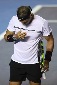 ACAPULCO, MEXICO - March 04: Rafael Nadal (SPA) reacts during the Final match between Sam Querrey (USA) and Rafael Nadal (SPA) as part of the Abierto Mexicano Telcel 2017 at the Fairmont Acapulco Princess on March 04, 2017 in Acapulco, Mexico. (Photo by Miguel Tovar/LatinContent/Getty Images)
