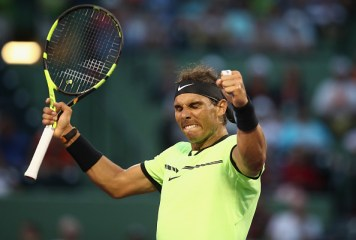 KEY BISCAYNE, FL - MARCH 26: Rafael Nadal of Spain celebrates defeating Philipp Kohlschreiber of Germany at Crandon Park Tennis Center on March 26, 2017 in Key Biscayne, Florida. (Photo by Julian Finney/Getty Images)