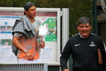 Rafa Nadal and Toni Nadal during the training at the Barcelona Open Banc Sabadell, on April 26, 2017. (Photo by Urbanandsport/NurPhoto via Getty Images)
