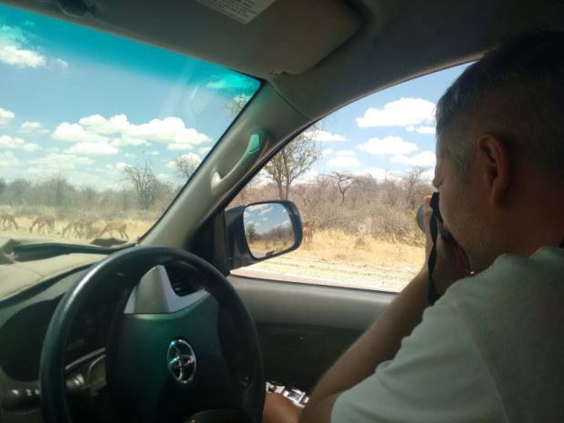Fotografo all'opera all'Etosha National Park