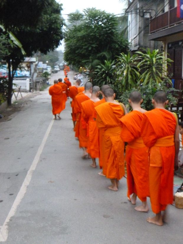 La questua mattutina dei monaci a Luang Prabang