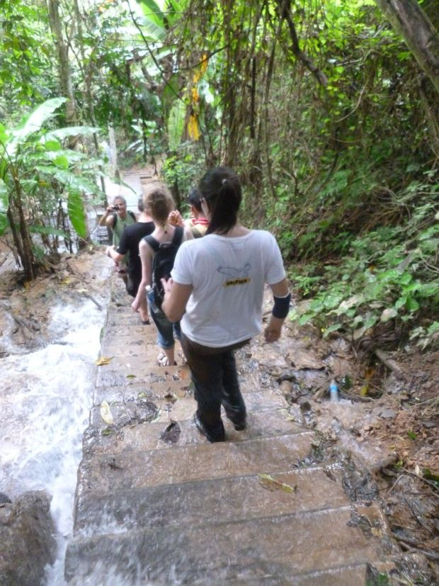 Scendendo verso le Cascate Kuang Si