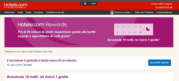 Risparmiare sulla prenotazione di un hotel: Hotels.com Rewards