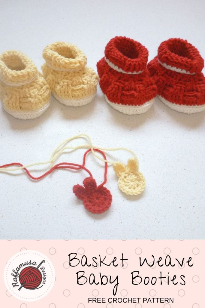 Do not forget to pin the pattern of the Basket Weave Baby Booties for later!