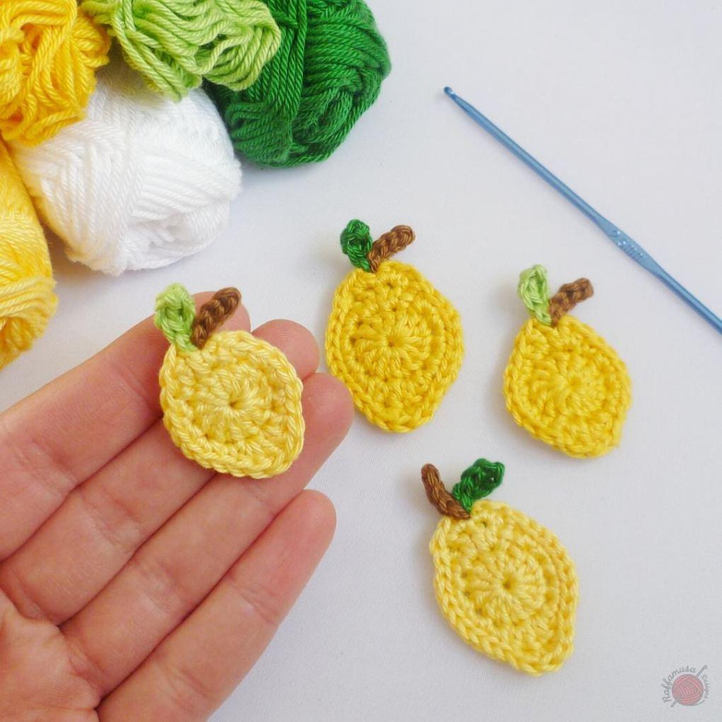 Small Lemon Crochet Applique