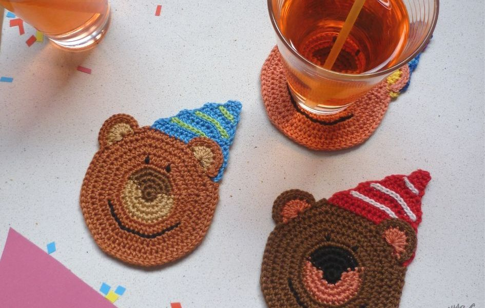 Party Bear Coasters by Raffamusa Designs
