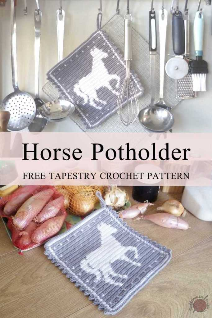 Pin the free pattern of the Tapestry crochet horse potholder for later!
