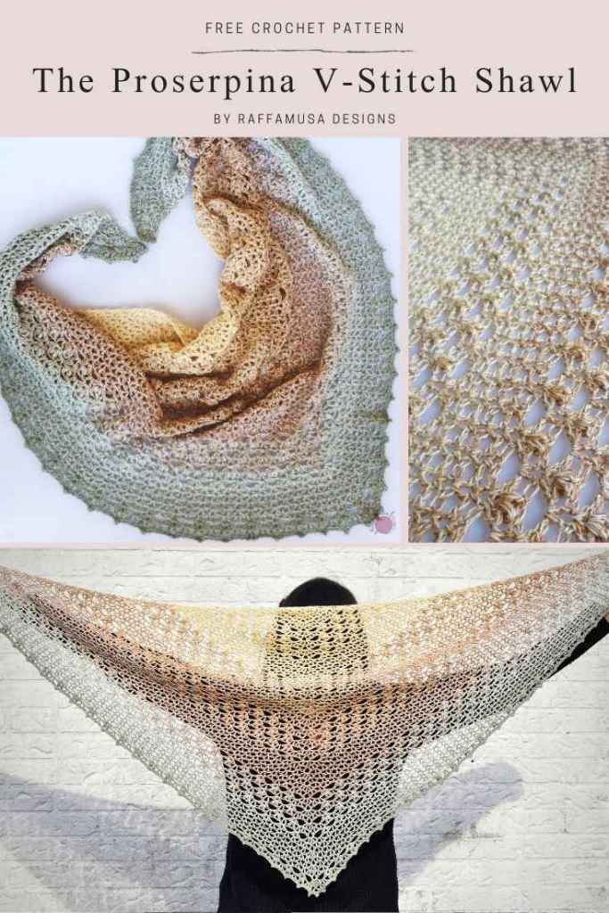 Pin the free pattern of the Proserpina V-Stitch Crochet Shawl to your favorite Pinterest board