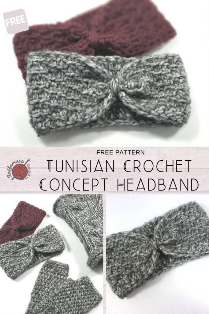 Pin the free pattern of the Tunisian Crochet Concept Headband