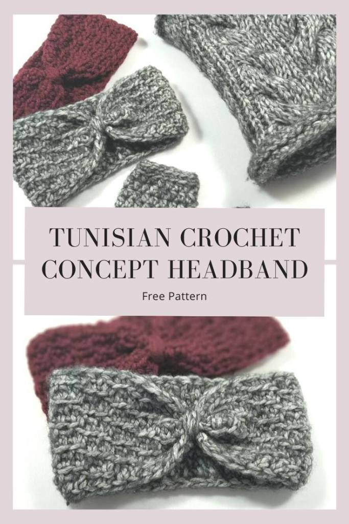 Pin the free pattern of the Tunisian Crochet Concept Headband to your Pinterest board