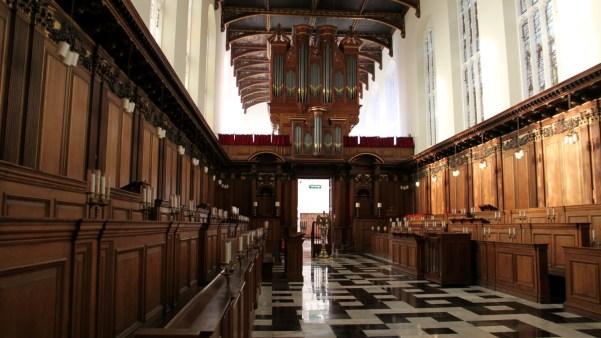 The majestic interior of the Trinity College Chapel. [Source: Trinity College Chapel]