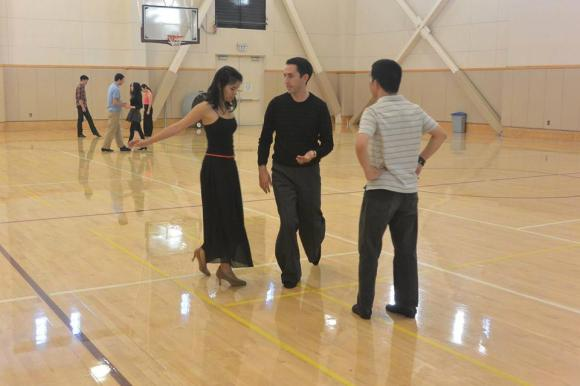 Hard at work in ballroom practice