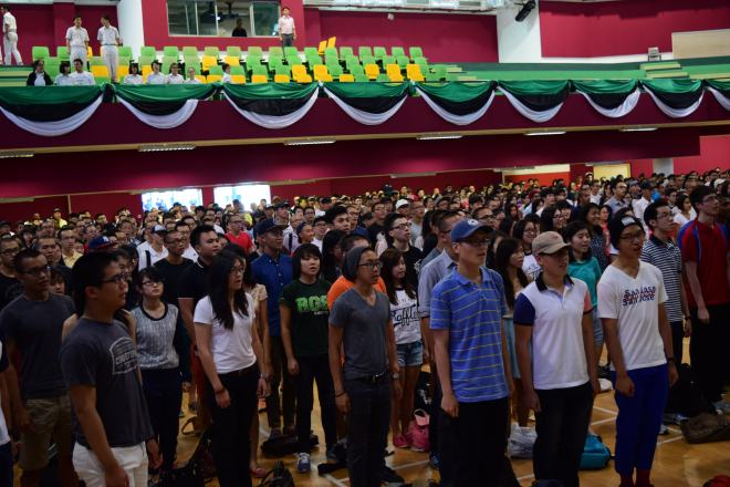 The batch of 2014 singing the Institution Anthem for the last time
