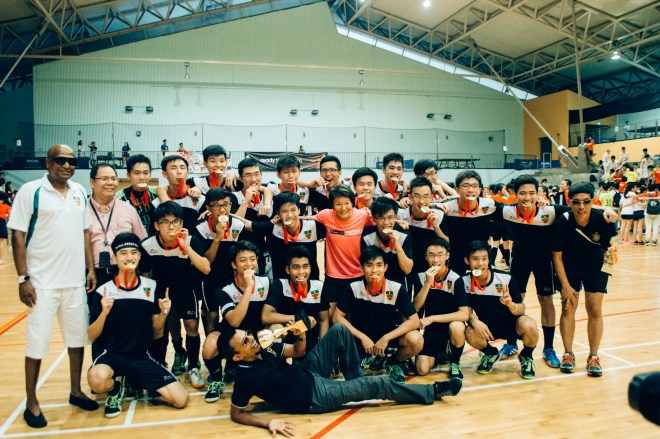 A Div Floorball Boys with Mr Mag and Mr Chan.