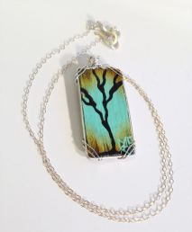 Collaboration By Rafi and Klee. Hand Painted Wire Wrapped Tree In Sterling Silver.