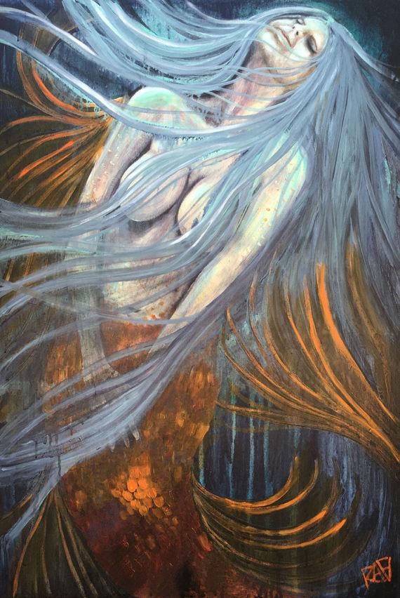Moonlight Mermaid original painting by artist Rafi Perez