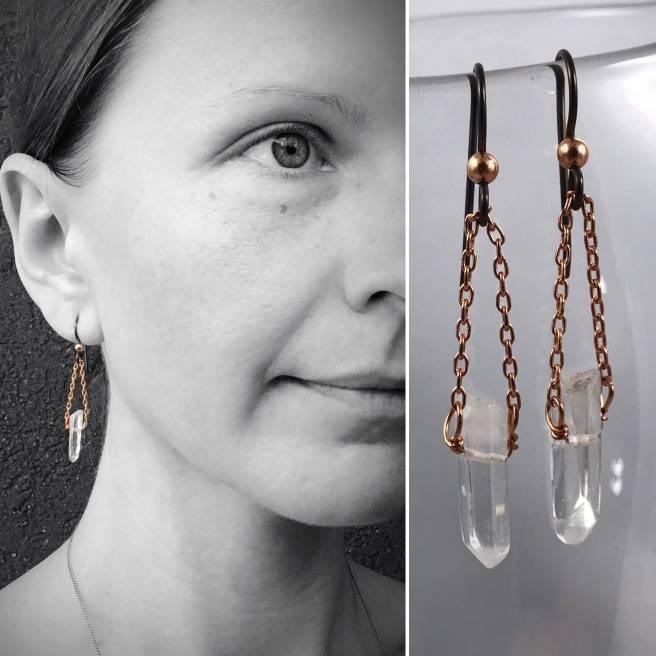 Quartz Crystal Point Earrings