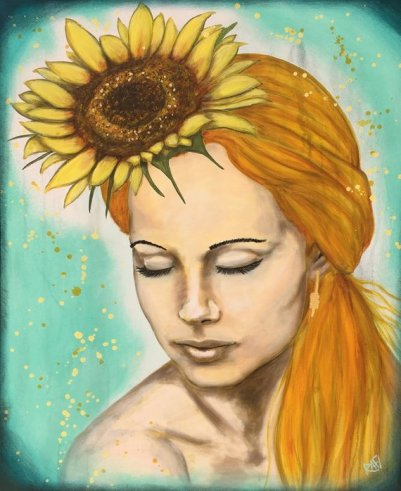 Calm Golden Sunflower Original Painting by artist Rafi Perez