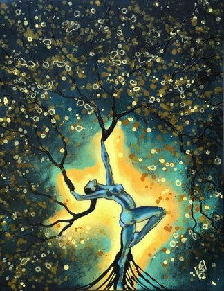 Nature Of Light Original Painting Woman Tree Wall Art by artist Rafi Perez