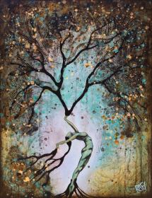 Original Painting Woman Summer Tree Wall Art by artist Rafi Perez