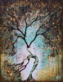 Original Painting Woman Summer Tree Wall Art by artist Rafi Perez
