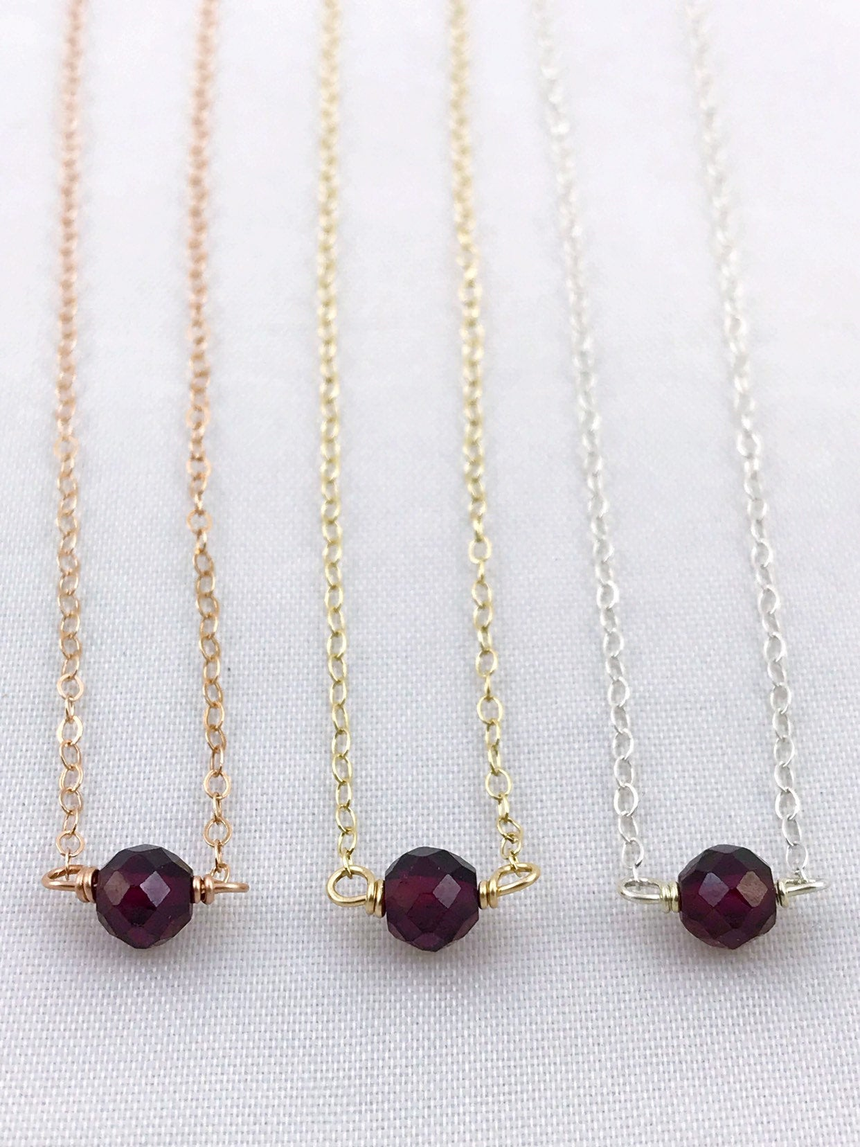 Tiny Amethyst Teardrop Gold Necklace Also in Rose Gold and Sterling Silver