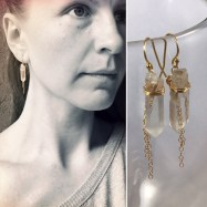 Gold Filled Quartz Crystal Tassel Earrings By Klee Angelie