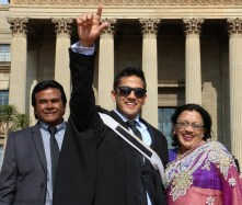 Levehn Reddy couldn't contain his excitement for getting his BDS in dentistry. His family came from Durban just to support him on such an important day.