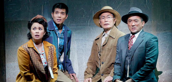 """Lea Salonga, Telly Leung, George Takei and Paul Nakauchi in a scene from """"Allegiance,"""" which premiered at the Old Globe Theatre in San Diego in 2012."""
